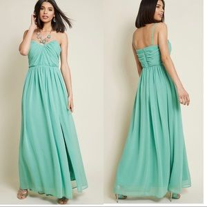 ModCloth Maxi Dress With Side Slit In Sage